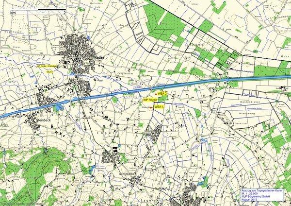 Karte vom Windgebiet Recke