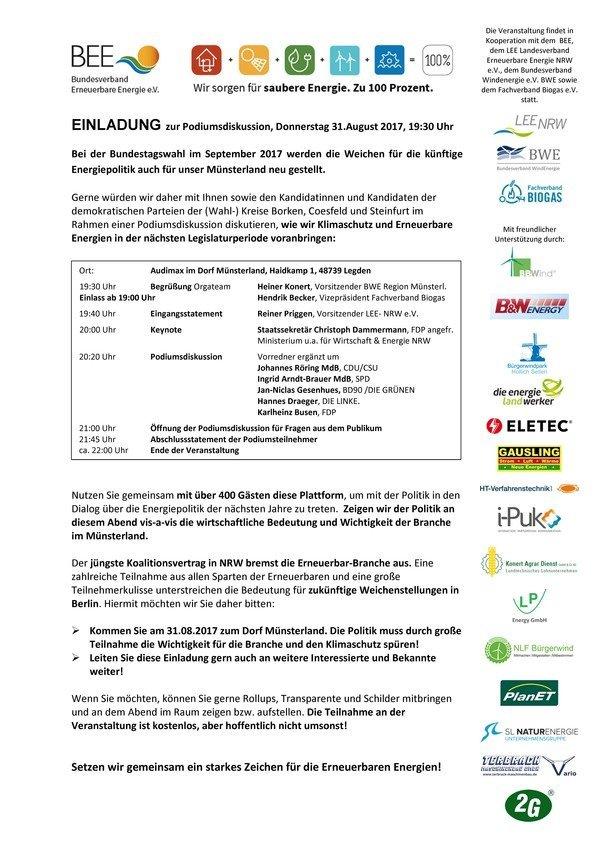 Podiumsdiskussion zur Bundestagswahl 2017 am 31.08.2017 im Dorf Münsterland