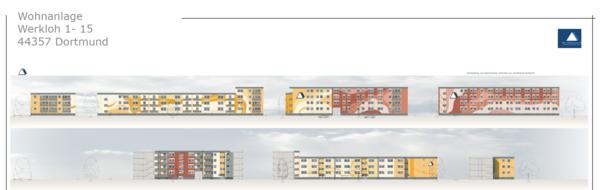 Fassadengestaltung Mehrfamilienhaus: Werkloh, Dortmund (2016) - Planung
