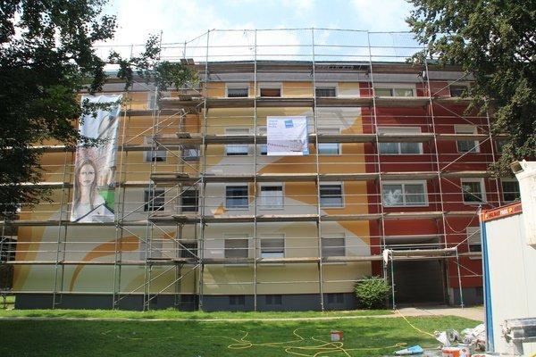 Fassadengestaltung Mehrfamilienhaus: Werkloh, Dortmund (2016) - Während der Ausführung - 1