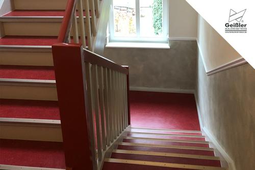 Ein kraftvoll aktiver Auftritt...hochwertige Maler- und Bodenbelagsarbeiten im Treppenhaus