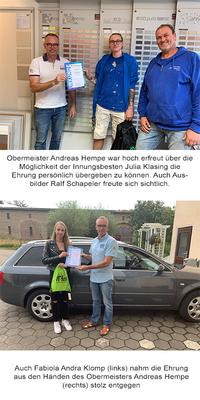 Julia Klasing und Fabiola Andra Klomp absolvierten Abschlussprüfung als Innungsbeste: Auszeichnungen durch Obermeister Andreas Hempe übergeben