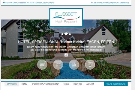 Flussbett Hotel mit neuer Webseite